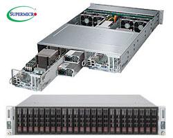"TwinPro 2027PR-DC0TR szerver - 2U 2xDPNode [2xE5-2600v2 16xDDR3 8x2.5""HS SAS3 4x2.5""HS SATA 2x10GbE] 2x1280W"